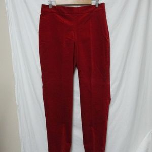 Talbots red Curvy Velvet Ankle Pants w/ Stretch 10